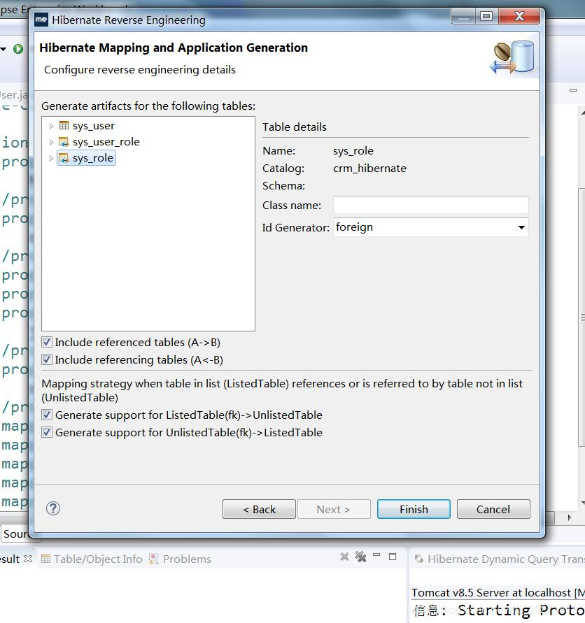 Configuring hibernate for reverse engineering with the