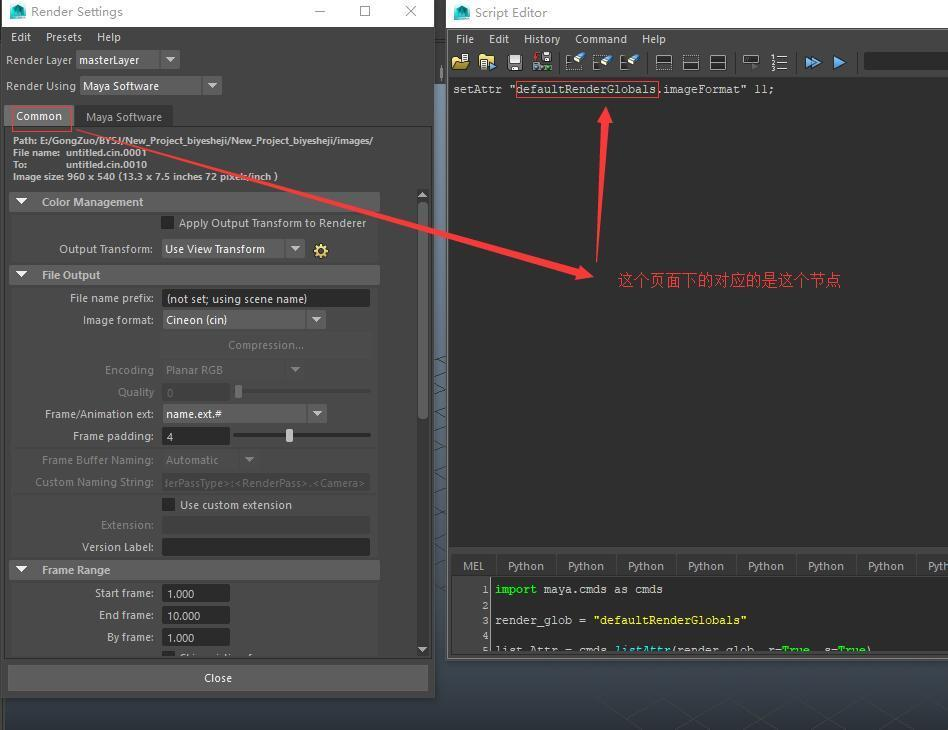 How to use python to set the rendering settings of maya