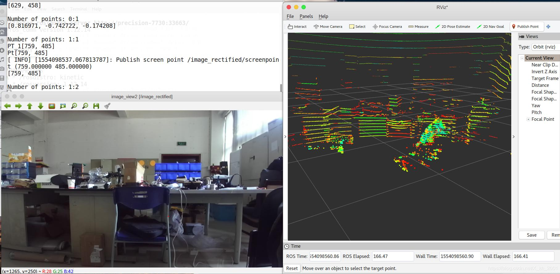 Joint calibration of (binocular) camera and lidar using
