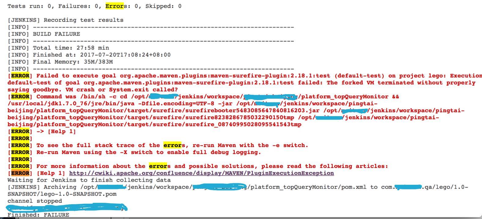 Jenkins running error: Failed to execute goal org apache maven