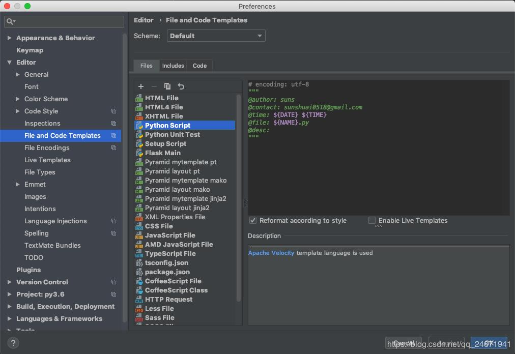 Automatically add header file comments when Pycharm creates a new