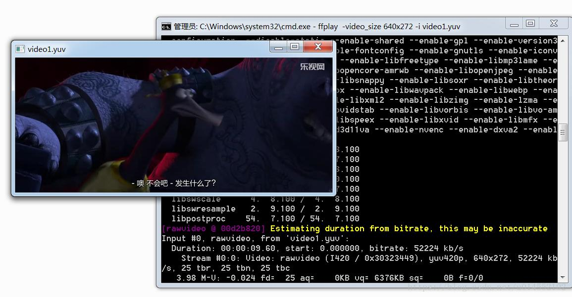 Use FFmpeg to generate YUV video files and play them (by
