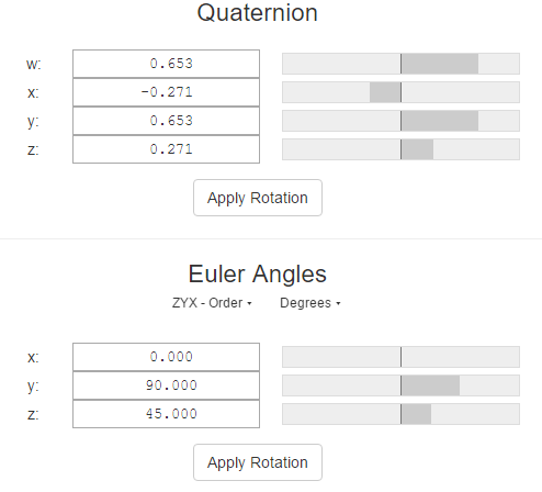 Conversion between quaternion and Euler angle (RPY angle