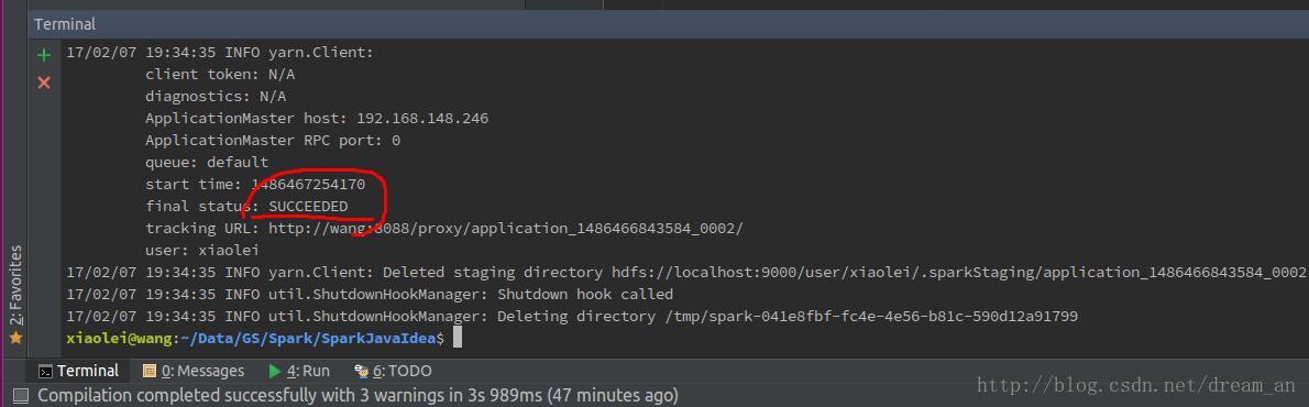 Spark (java API) Developed and run in Intellij IDEA