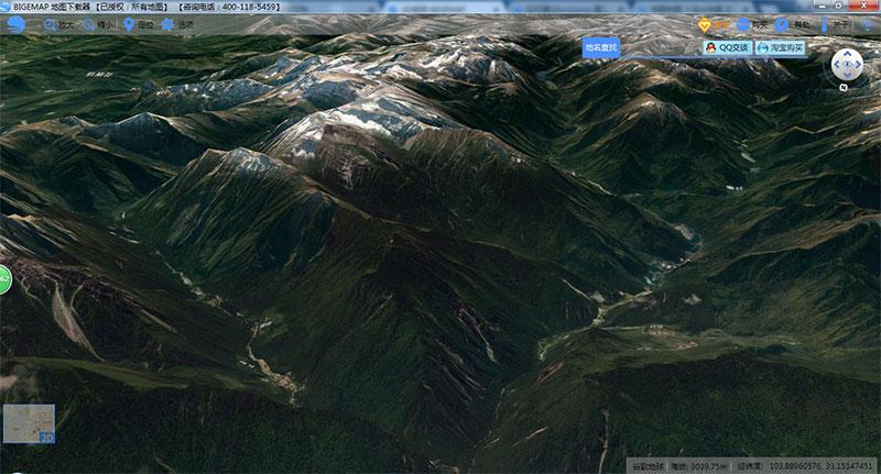 BIGEMAP view 3D map, Google Earth 3D topographic map view