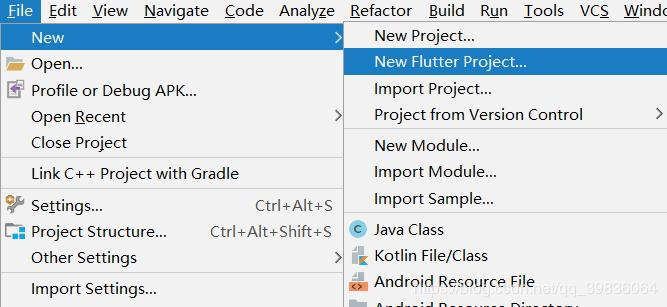 Android studio first access Flutter -------------- does not