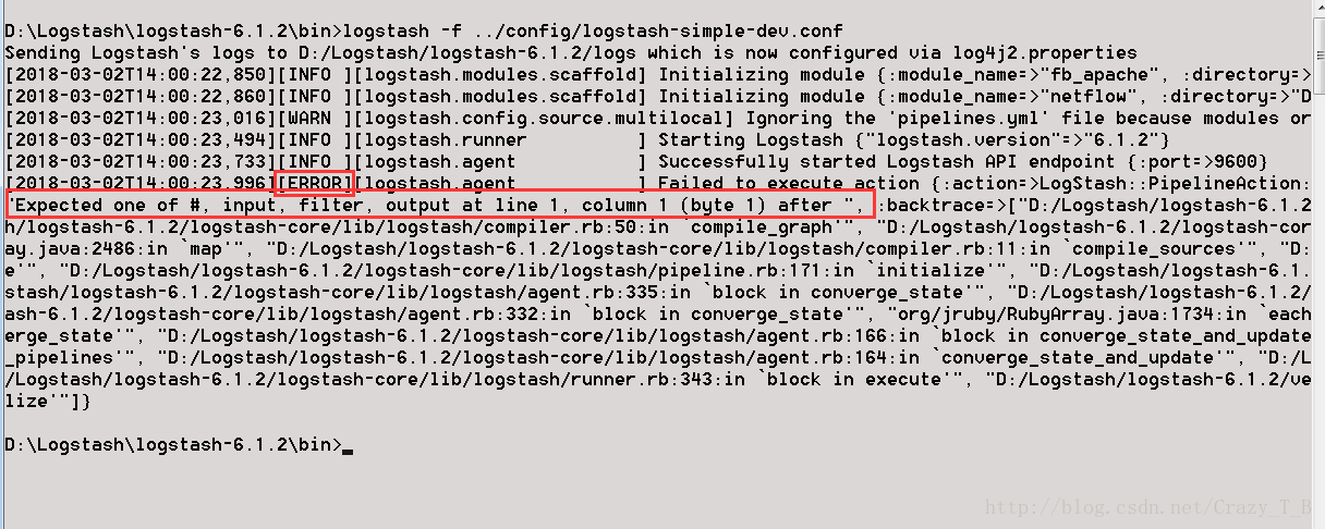 Logstash startup report configuration file error Expected one of
