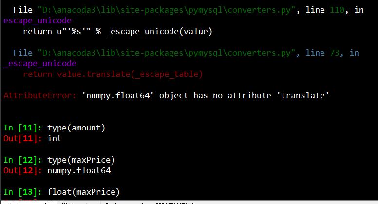 python mysql error AttributeError: 'numpy int64' object has no