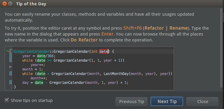"""A """"tip of the day"""" dialog from CLion explaining how to automatically update usages when renaming symbols. There are buttons to navigate to previous and next tips and a checkbox to control whether the dialog is shown on startup."""