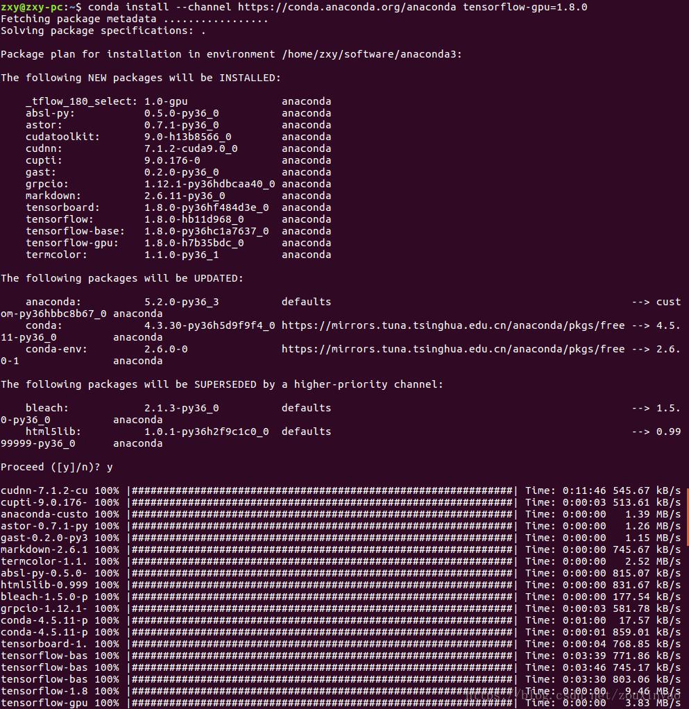ubuntu16 04+anaconda+tensorflow-gpu1 8 0+keras+pytorch(caffe2
