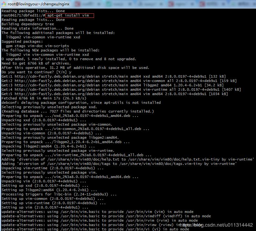 Solution: bash: vim: command not found, docker container does not