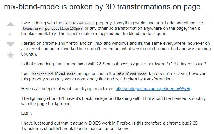 Exploring CSS mixed mode\filters causes CSS 3D failures